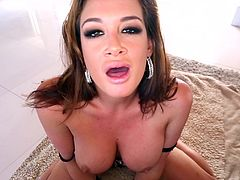 Brown-haired hottie Tory Lane shows her big fake boobs to a man and turns him on. Then she licks and rubs the dude's weiner and allows the guy to poke his manhood deep in her throat.