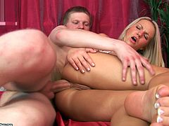 Brittany Spring is a cowgirl when she rides the cock anal hardcore. Before the fucking, she received a rim job and asslick with her shaved pussy.