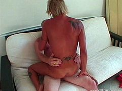 Blonde with big natural tits with hot ass enjoys her big lips juicy pussy licked before getting hammered hardcore in a matured couple sex
