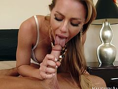 Horny fair haired babe Nicole Aniston has steamy 69 pose sex with her man