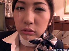 Check this Asian babe, with natural breasts wearing nylon stockings, while she masturbates and ends up with jizz all over her mouth.