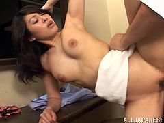 Witness this reality video where an Asian cougar, with natural boobs wearing a skirt, while she gets banged hard after having an aphrodisiac meal.