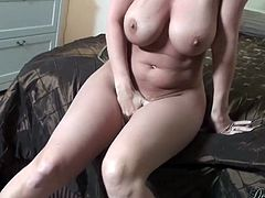 Check out this blonde milf's big natural breasts in this hot scene where she takes off her clothes to suck on this guy's big cock and end up with her mouthful of semen.
