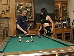 On the pool table licking pussy brunette
