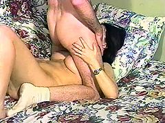 Kinky retro brunette Jade fucks her cooch with a dildo and lets her man watch her. Then she allows the dude to drive his schlong deep in her throat.