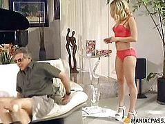 Lying under maid licks her anal