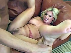 Busty blonde mom Kala Prettyman is having fun with a long-haired man indoors. Kala gives a hot blowjob to the dude, then takes his schlong in her cunt and enjoys it hard from behind.