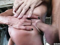 Kirsten Price gives ass to horny as hell Keiran Lee after she gets her throat fucked