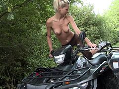 Time is perfect for a ride won her motorcycle on the camp road. Pinky June has lost and takes a break to admire the view. Watch the slim blonde bitch, starting to masturbate in front of the camera. Her black fishnet stockings are a turn on, especially after taking off her other clothes. See her rubbing pussy!