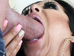 Kiara Mia is in the mood to give a cock a blowjob treatment. She licks it and takes the cock in her mouth for a deepthroat face fucking.