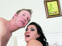 Voluptuous brunette with natural tits and pierced tongue getting her hairy pussy slammed missionary style before giving a hot blowjob