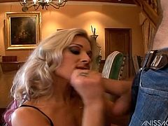 Ian Scott and gorgeous blonde Christa, wearing stockings and lingerie, are having a great time together. Ian drills Christa's pussy doggy style and pulls the bombshell by the hair.