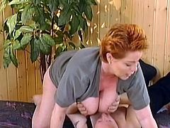 Needy as usual busty mature, Kira Red, goes wild with a stiff dick up her cramped cunt