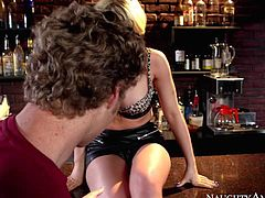 Kagney Linn Karter spreads her legs and pulls out her big tits on bar counter in front of lucky dude. Her pink lovely pussy is for him to lick and fuck. Watch stacked blonde do it at the bar.