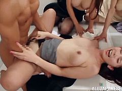 This Japanese guy is very lucky to have three wild pussies inside the office. These Asian sluts give the hard cock a handjob with their pussies getting banged hardcore.
