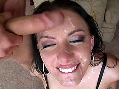 This horny brunette babe gets her filthy mouth filled with hot cum after getting gangbang by a bunch of horny hung dudes.