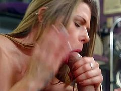 Long haired bosomy cutie Rachel Roxx blows hard cock greedily