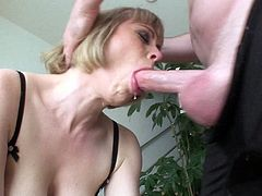 Sexy Adrianna gets such an intense deepthroat blowjob she makes her make up run with tears then she swallows his hot load.