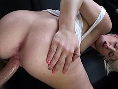 Masturbate as you watching this blonde doll, with a nice butt wearing panties, while she goes hardcore in a reality POV video.