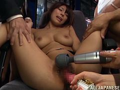 Lewd Japanese chick Nami Hoshino lets a few men toy and finger her twat. After that the guys fuck Nami's mouth and pussy and use her face as a cum target.