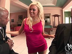 Samantha Sin is a sexy blonde milf with a fine tight body. Watch her seduce these two massively hung black guys who are more than happy to pull their dick out and fuck her!