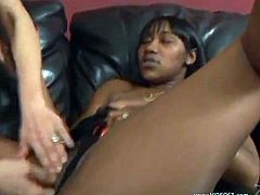 Voracious curly whore lies on the back spreading her legs and gets her dripping wet poontang banged with a dildo. Then brunette ebony gets her snatch fingered.