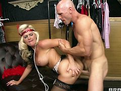 Gorgeous cougar in nylon stockings with big tits amazed as she unleashes his cock and gives it a superb blowjob before he drills her missionary