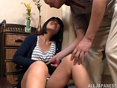 Get excited by watching this Japanese wife, with natural boobs wearing panties, while she gets touched with a vibrator and serves a blowjob.