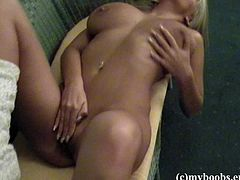 Have fun jerking off to this hot scene where the sensual blonde Ines Cudna shows off her big natural tits in this solo clip.