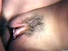 Check this amateur brunette, with natural breasts and a hairy pussy, while she goes hardcore with a horny fellow and moans like a slut.