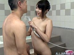 This Asian couple gets excited for some bath fuck scene. The Japanese hottie takes the command to suck the dick for a blowjob and gets being pounded hardcore.