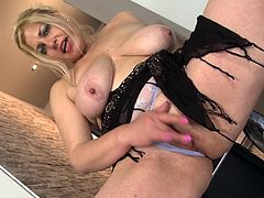Evalina is a mature bitch with unsatisfied desires. She decides to take care of herself, so she got naked and starts rubbing her big breasts. She gets her big ass on a chair where she feels more comfortable and slightly remove her panties. This whore starts rubbing that big wet cunt making her dreams come true. Will she have an orgasm?