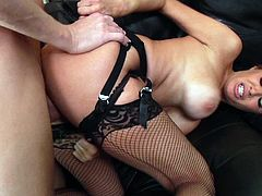 Watch Veronica Avluv having her tight asshole drilled by this guy's thick cock in this hardcore scene where she wears stockings.