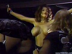 Exotic divas with big tits in a bondage gets tortured before being striped off displaying their hot asses in a femdom group sex