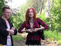 These two guys picked up a sexy redhead that will do anything for the right amount of cash. She knows how to negotiate and takes all their money but in the end she will have to work hard for them. Finally, they go somewhere private where the redhead gets naked and busy. That ass could sure use come cock!