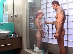 This sexy girl gives a blowjob, gets fucked hard doggystyle then lets him watch as she hits the shower and washes her fine body off.