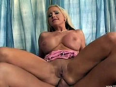 Big tit anal blonde in pink skirt gives blowjob and get her ass rammed hardcore with cock before taking cum in mouth
