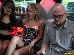 This lucky guy got a party bus with two hot chicks. As they drove down the street he ended up getting head then fucking them both.