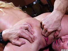 Marvelous cougar in glasses and black stockings gives a guy a superb blowjob before getting hammered hardcore while she moans in the office