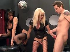 Lustful trannies Joanna Jet and Jordan Jay are having fun with a man indoors. They please the dude with a hot blowjob and get their bumholes banged from behind.