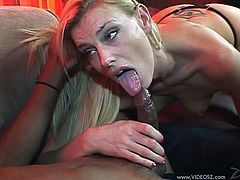 Blond babe with tattoo in sexy thong and shorts gives black cock a mouth masssge and handjob before taking cumshot on face
