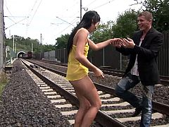 The gorgeous Lucy Belle gets a delicious asslick in public and gives the guy an amazingly sexy blowjob in return before getting her ass pounded.