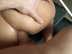 Beth is a naughty brunette with an amazing body sucking on this guy's thick cock before having her tight pussy drilled by it in this POV.