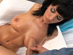 Click to watch this brunette MILF, with big fake boobs and a shaved pussy, while she gets fucked hard and get a cumshot on her tits.