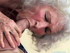 Make sure you see this! A sexy granny, with gigantic jugs wearing nylon stockings, while she goes hardcore with a dirty fellow and moans loudly.