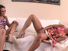 White horny babes in high heels fingers their juicy pussies immensely while displaying their hot assholes on a cozy seat