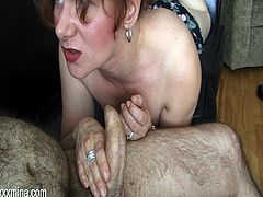 Check out this hot scene where the horny milf Mina Gorey sucks on a big cock before being fucked by this guy as she moans.