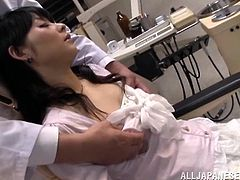 This Asian hottie gets a hot pussy stimulation in a clinic. The doctor advises her to spread her legs while her tits and pussy were handled with a hardcore care in orgasm.