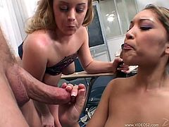 Two Bisexual Chicks In FFM Threesome Get Fucked And Creamed