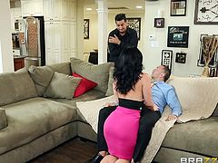 With her big boobs and her sexy round ass Jayden is a hot brunette that can suck out the cum from every-man's dick. She is angry with her husband so she planned to get her sweet revenge. She takes her clothes off in front of another man while her husband is watching. In order to fulfill her desire she gives the guy an incredible blowjob. What will happen?